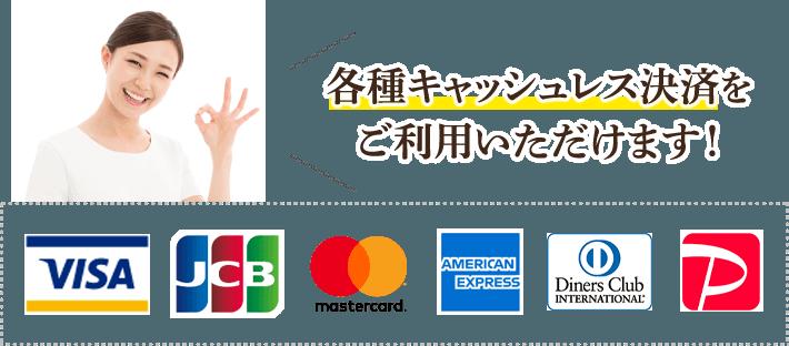 キャッシュレス対応店・各種クレジットとPaypayの利用可能